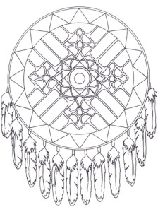 Dreamcatcher mandala from supercoloring.com