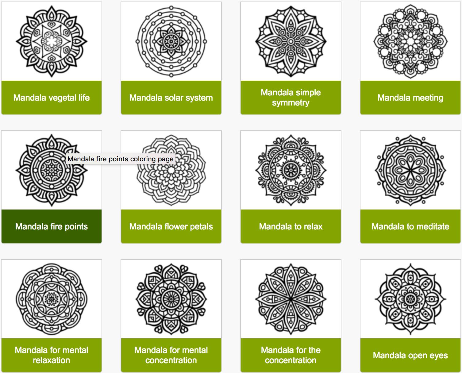 samples of coloringcrew.com mandalas
